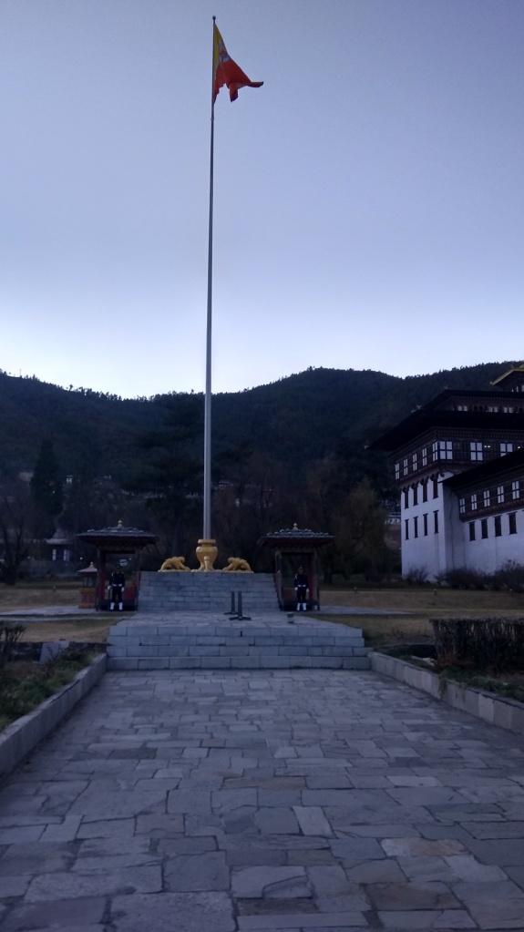 Flag hoisting at Thimphu