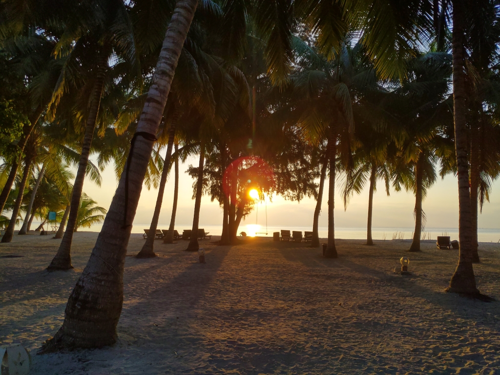 Amazing sunrise at the private beach of Silver Sand Beach Resort Havelock