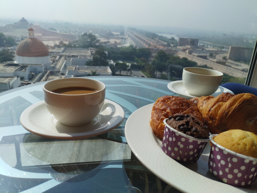 Morning tea with a view at Renaissance Lucknow